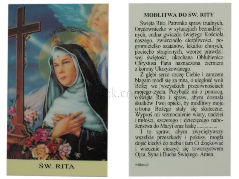 święta Rita Obrazek Laminowany Z Modlitwą